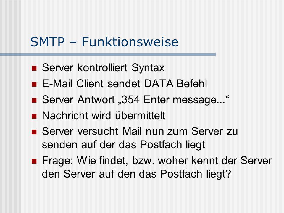 SMTP – Funktionsweise Server kontrolliert Syntax