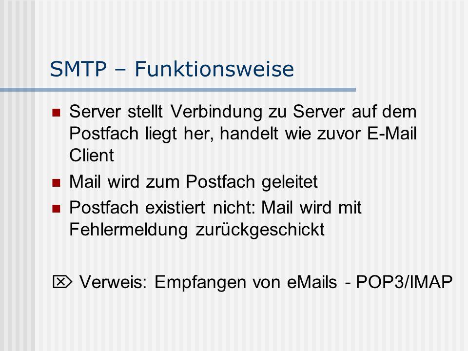 SMTP – Funktionsweise Server stellt Verbindung zu Server auf dem Postfach liegt her, handelt wie zuvor E-Mail Client.