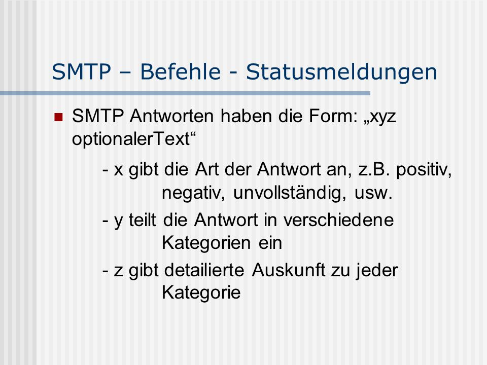 SMTP – Befehle - Statusmeldungen