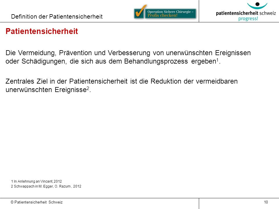 Definition der Patientensicherheit