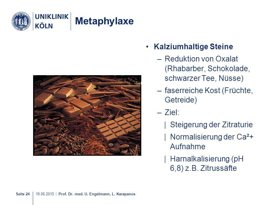 Metaphylaxe Kalziumhaltige Steine