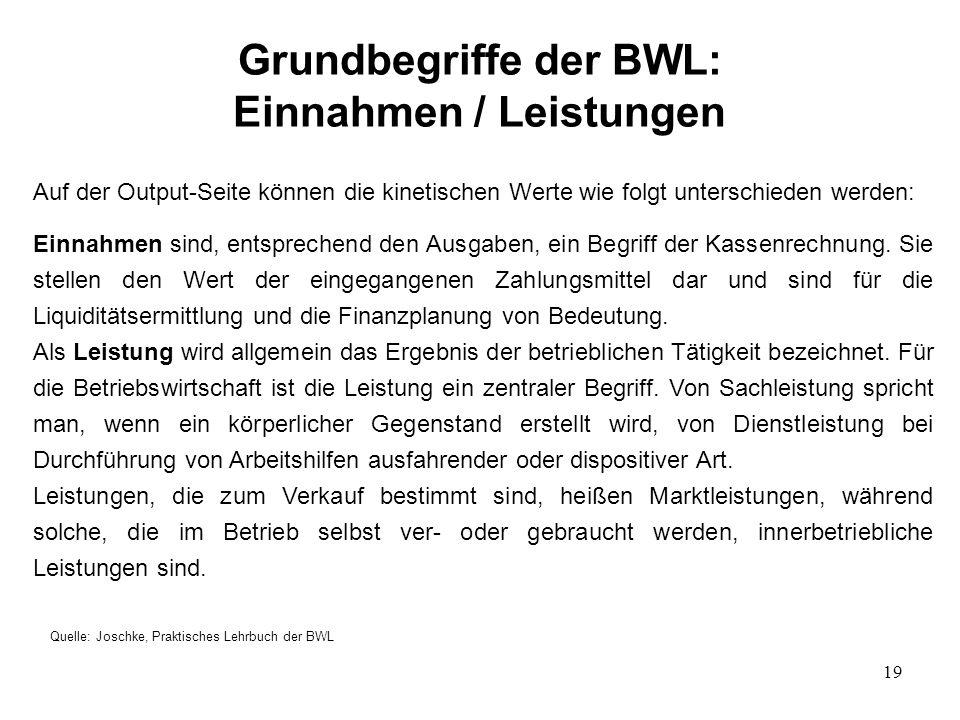 Grundbegriffe der BWL: Einnahmen / Leistungen