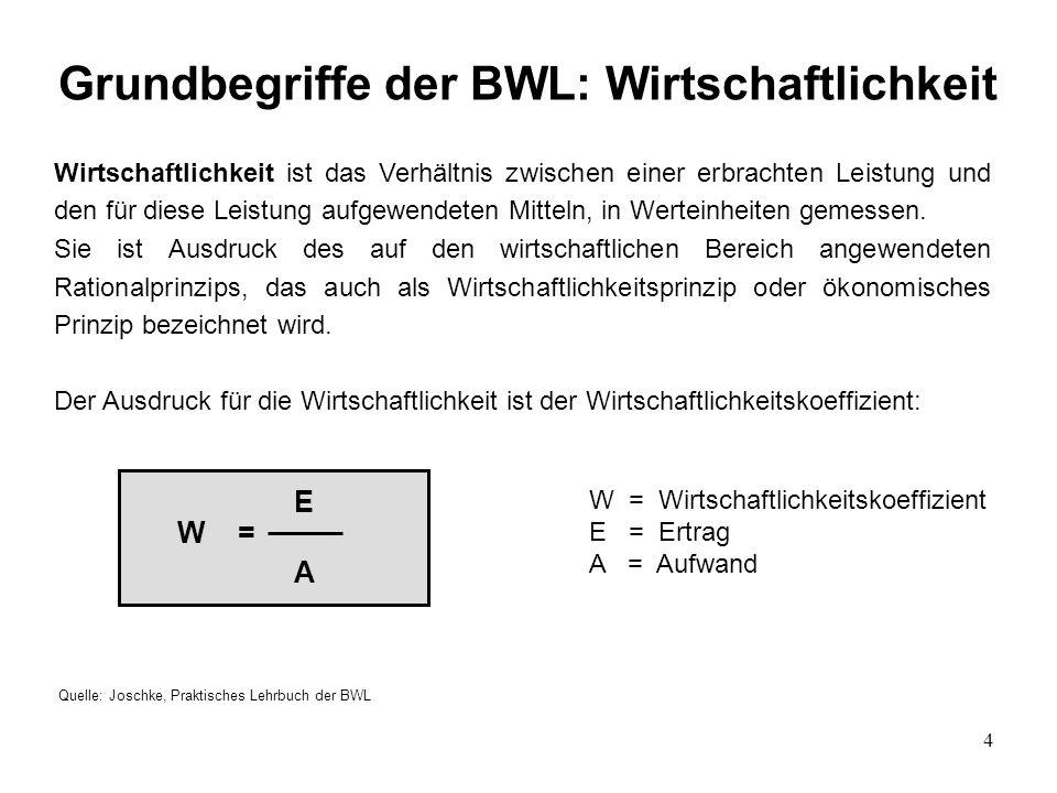 Grundbegriffe der BWL: Wirtschaftlichkeit