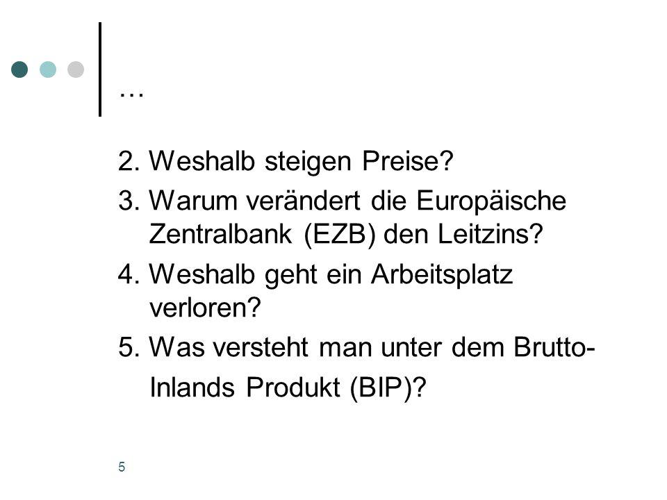… 2. Weshalb steigen Preise 3. Warum verändert die Europäische Zentralbank (EZB) den Leitzins