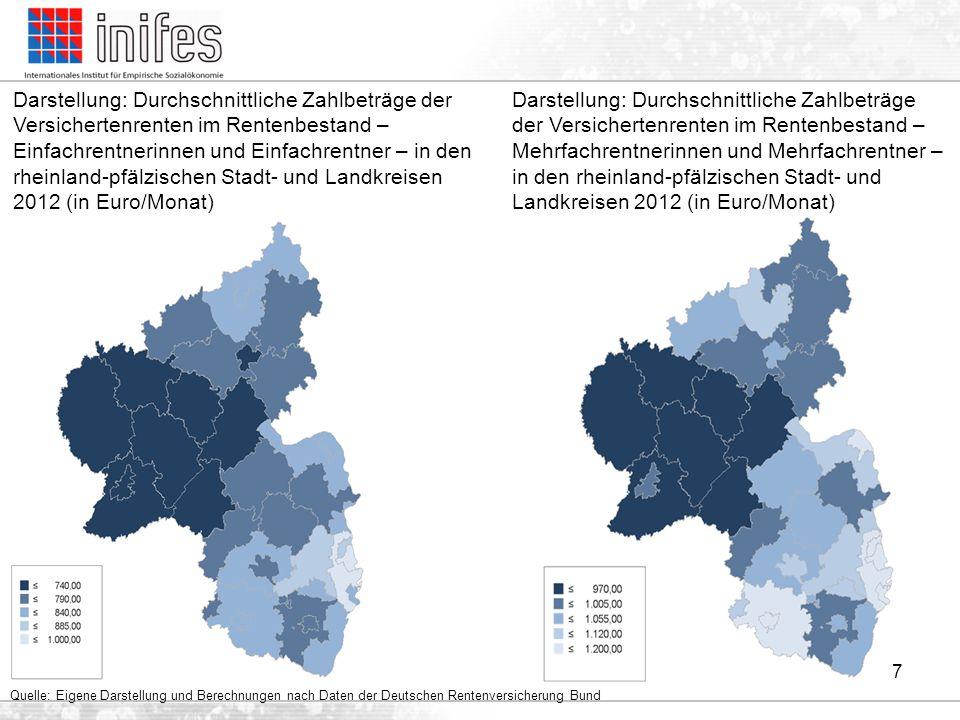 Darstellung: Durchschnittliche Zahlbeträge der Versichertenrenten im Rentenbestand – Einfachrentnerinnen und Einfachrentner – in den rheinland-pfälzischen Stadt- und Landkreisen 2012 (in Euro/Monat)