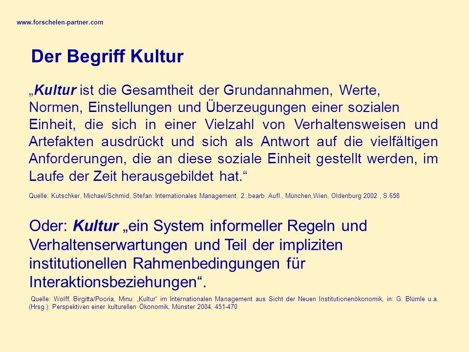 """www.forschelen-partner.com Der Begriff Kultur. """"Kultur ist die Gesamtheit der Grundannahmen, Werte,"""