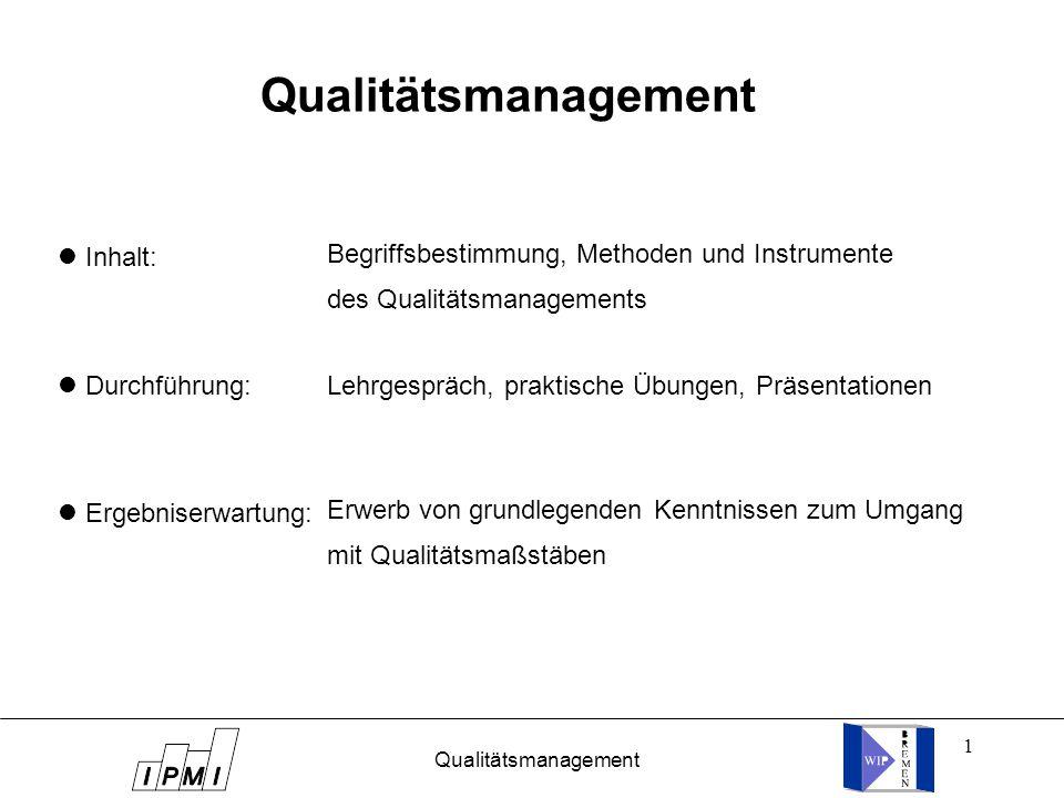 Qualitätsmanagement Begriffsbestimmung, Methoden und Instrumente