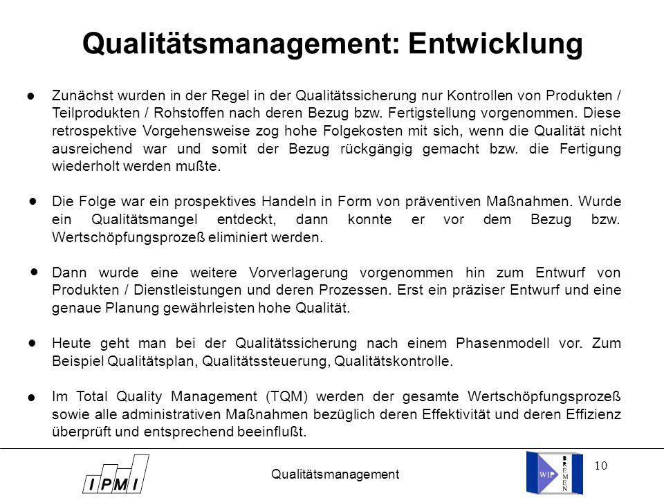 Qualitätsmanagement: Entwicklung