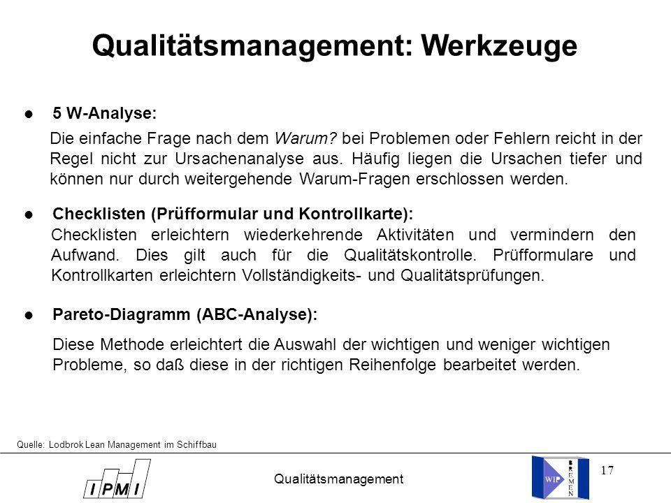 Qualitätsmanagement: Werkzeuge