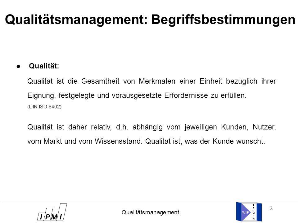 Qualitätsmanagement: Begriffsbestimmungen