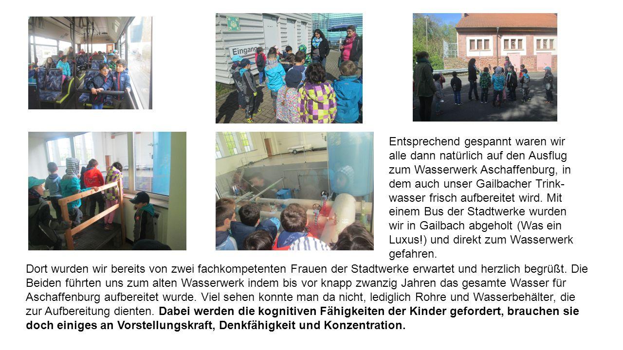 Entsprechend gespannt waren wir alle dann natürlich auf den Ausflug zum Wasserwerk Aschaffenburg, in dem auch unser Gailbacher Trink-wasser frisch aufbereitet wird. Mit einem Bus der Stadtwerke wurden wir in Gailbach abgeholt (Was ein Luxus!) und direkt zum Wasserwerk gefahren.
