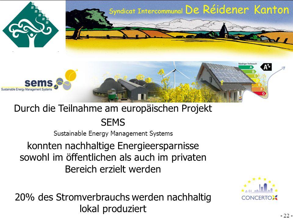 Durch die Teilnahme am europäischen Projekt SEMS
