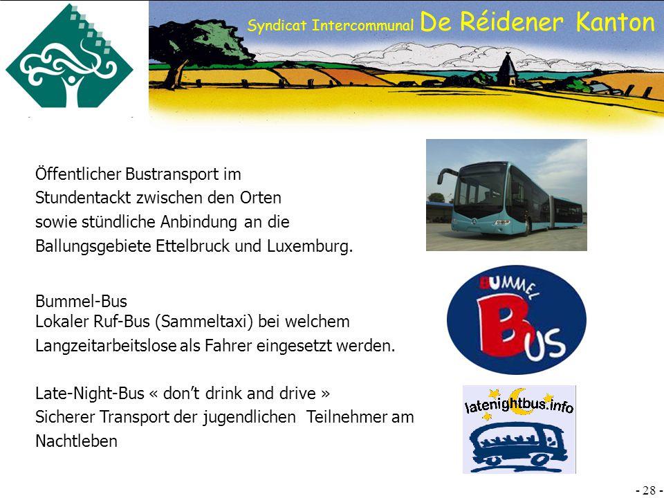 Öffentlicher Bustransport im Stundentackt zwischen den Orten