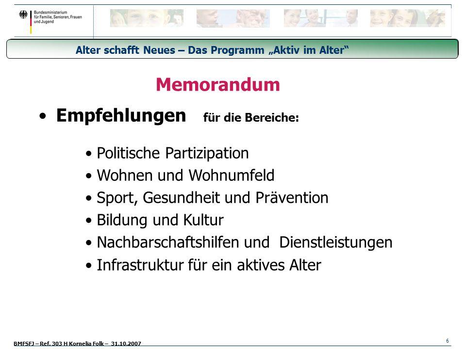 Empfehlungen für die Bereiche: