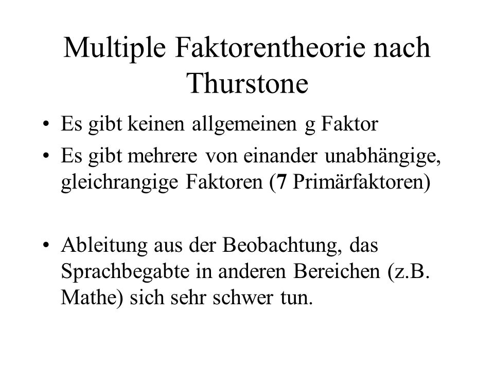 Multiple Faktorentheorie nach Thurstone