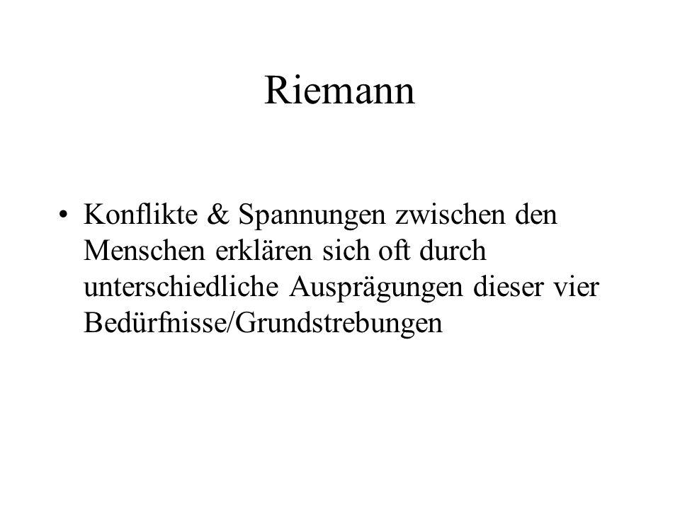Riemann Konflikte & Spannungen zwischen den Menschen erklären sich oft durch unterschiedliche Ausprägungen dieser vier Bedürfnisse/Grundstrebungen.