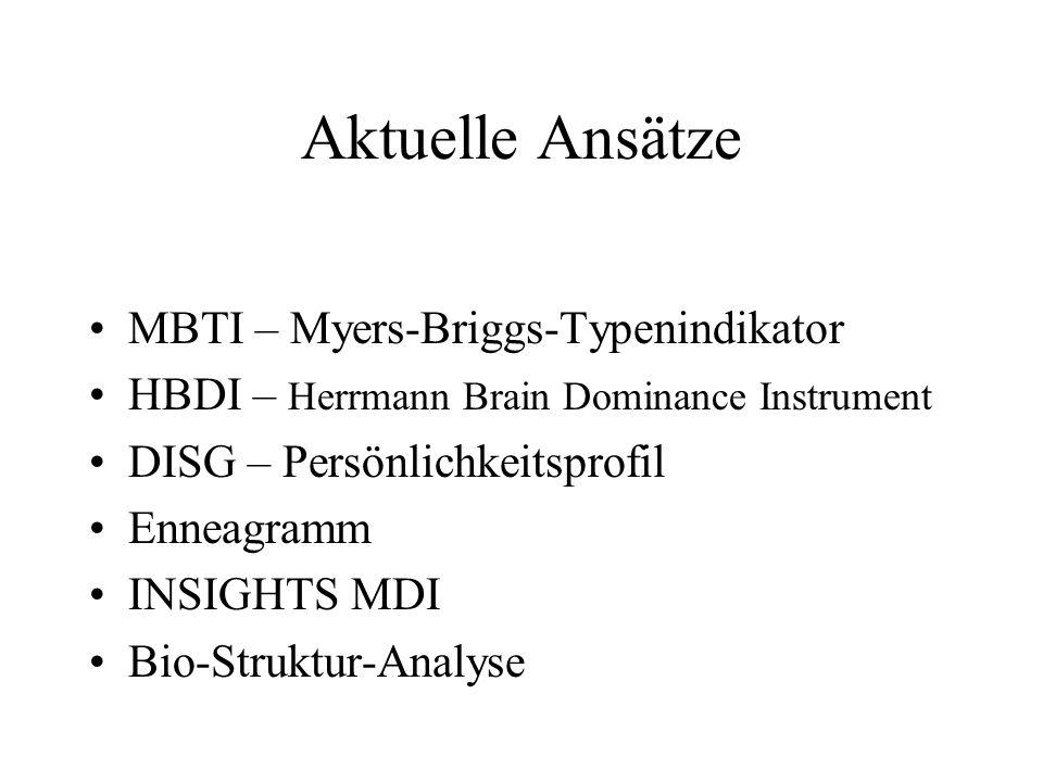 Aktuelle Ansätze MBTI – Myers-Briggs-Typenindikator