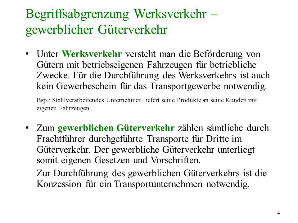 Begriffsabgrenzung Werksverkehr – gewerblicher Güterverkehr