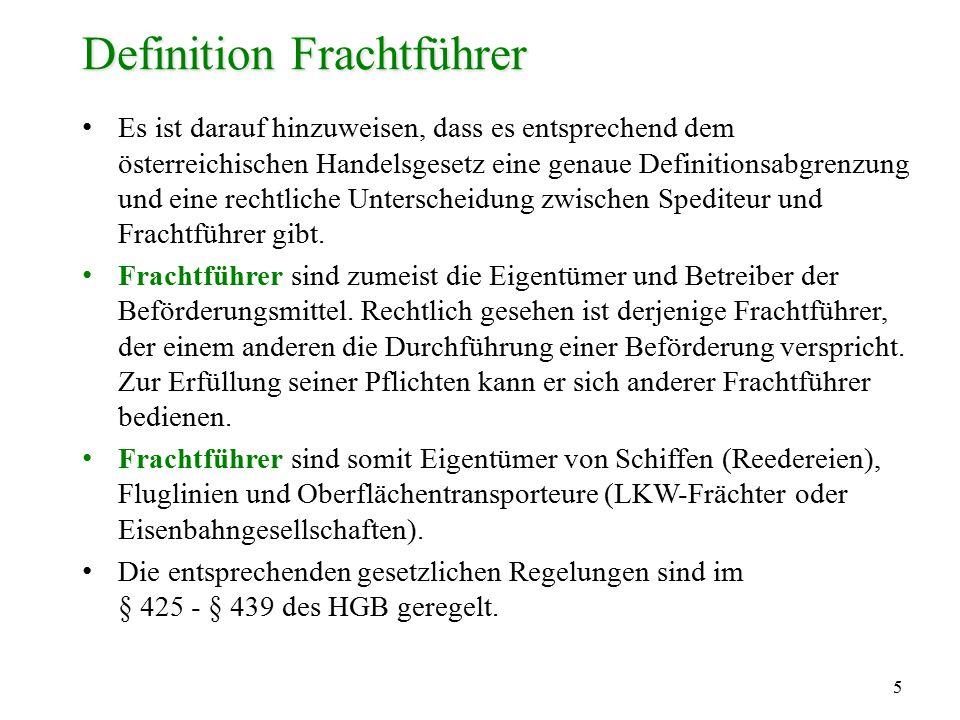 Definition Frachtführer