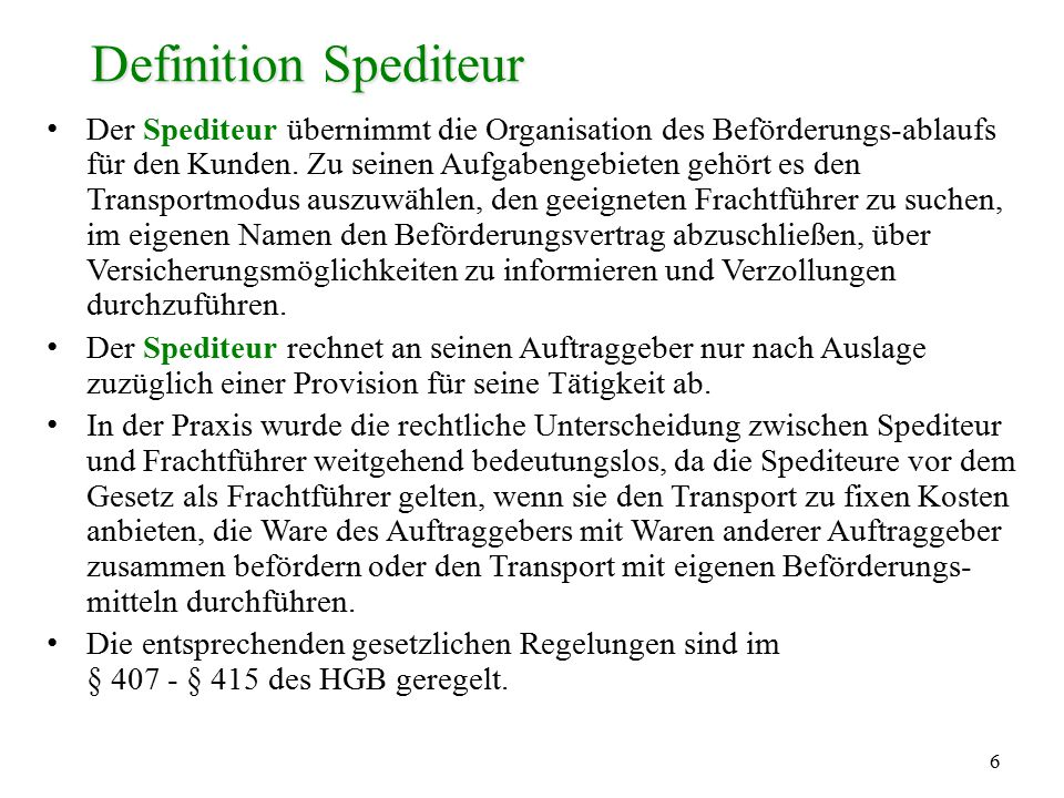 Definition Spediteur
