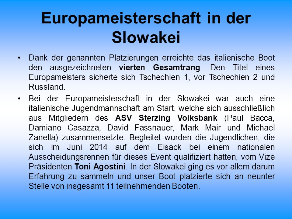 Europameisterschaft in der Slowakei
