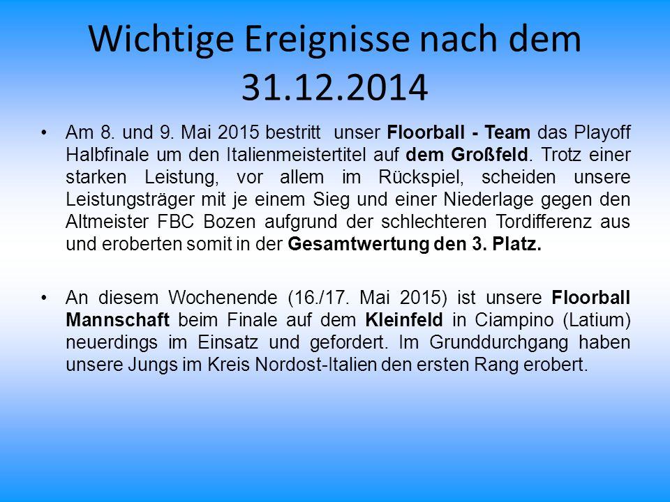 Wichtige Ereignisse nach dem 31.12.2014