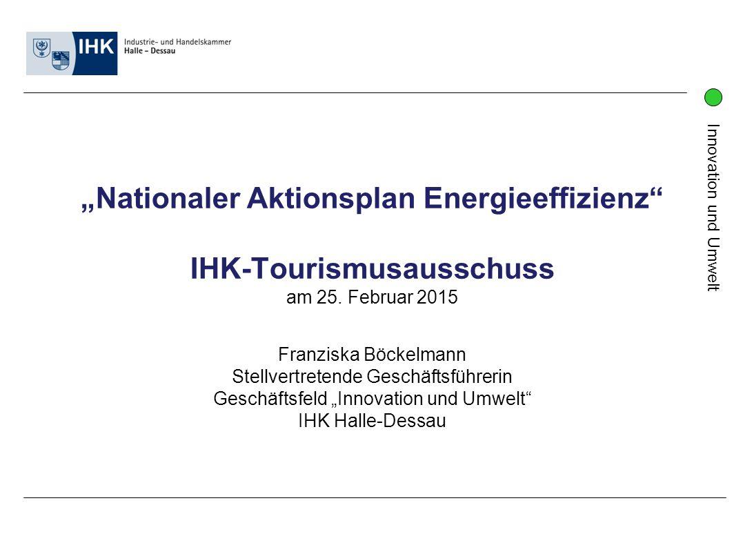 """""""Nationaler Aktionsplan Energieeffizienz IHK-Tourismusausschuss"""
