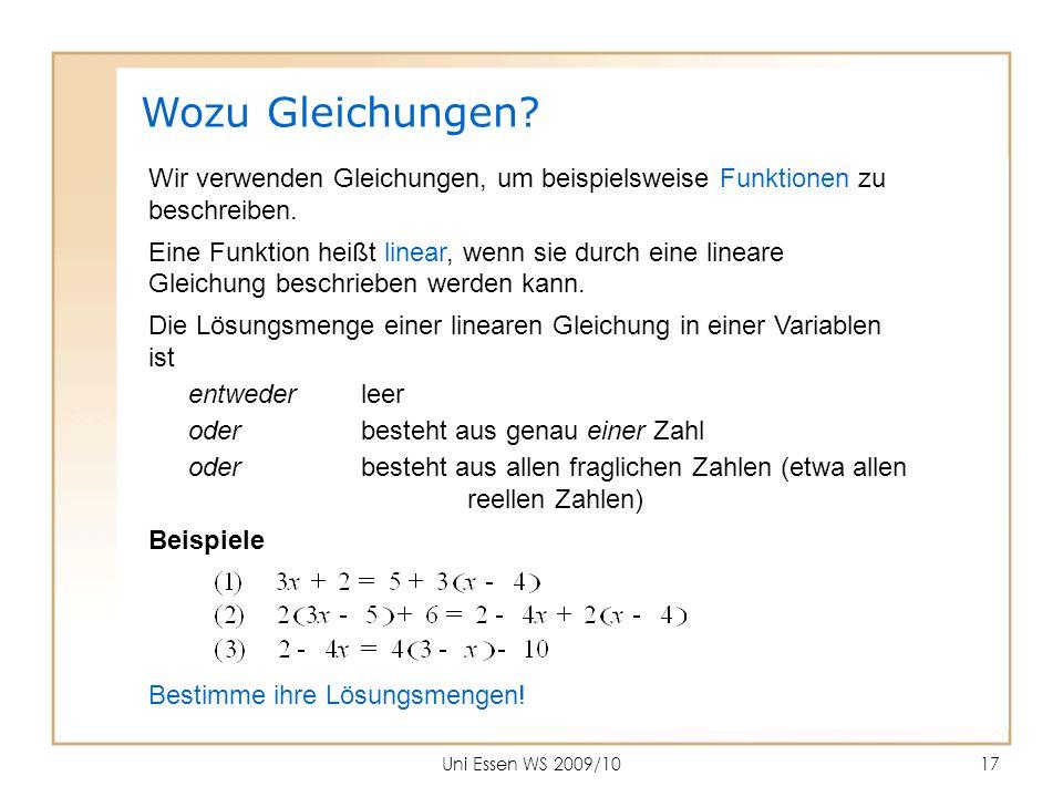 Wozu Gleichungen Wir verwenden Gleichungen, um beispielsweise Funktionen zu. beschreiben. Eine Funktion heißt linear, wenn sie durch eine lineare.