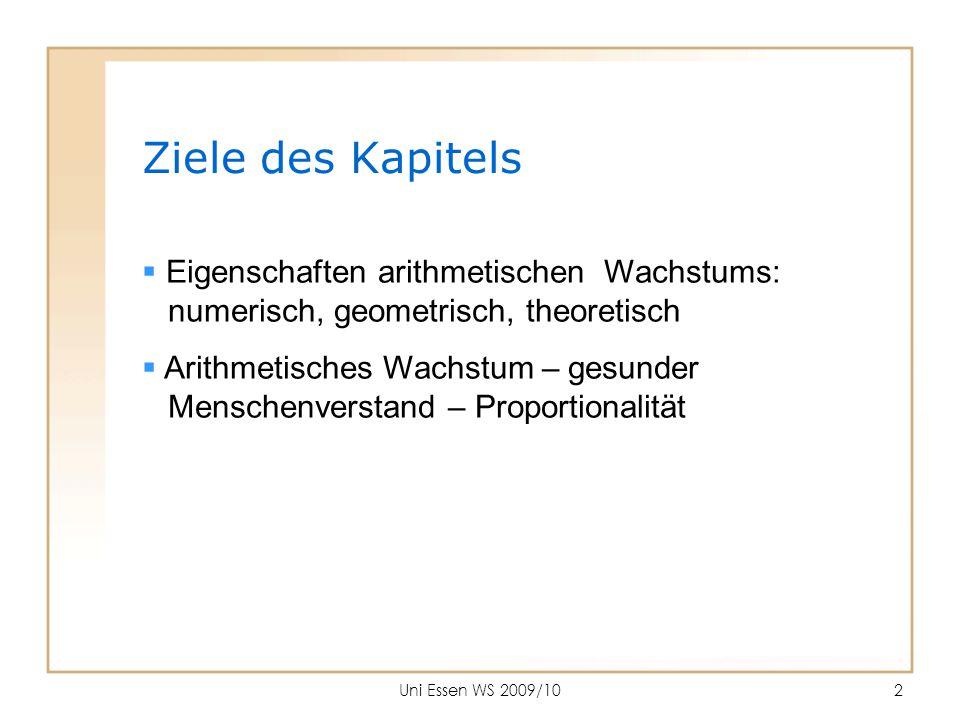 Ziele des Kapitels Eigenschaften arithmetischen Wachstums: