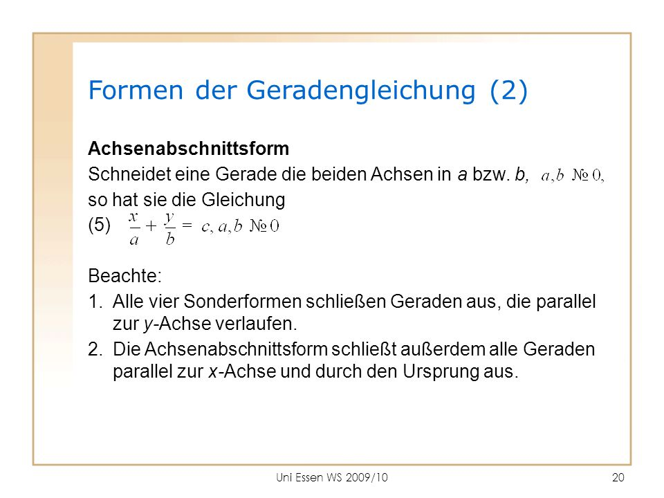 Formen der Geradengleichung (2)