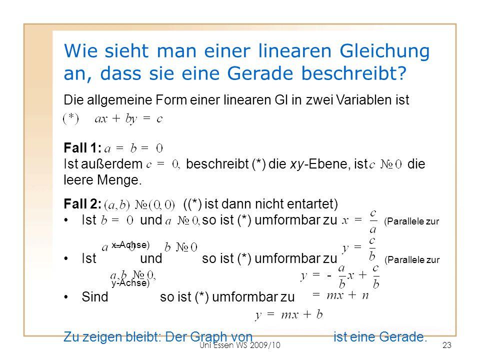 Wie sieht man einer linearen Gleichung an, dass sie eine Gerade beschreibt