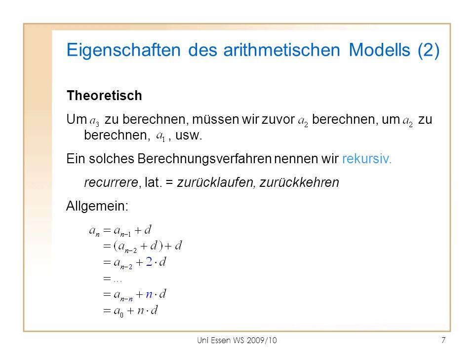 Eigenschaften des arithmetischen Modells (2)