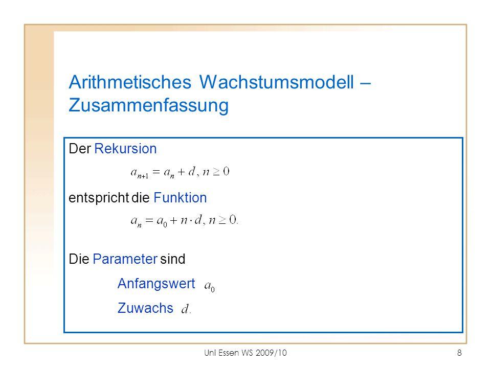 Arithmetisches Wachstumsmodell – Zusammenfassung