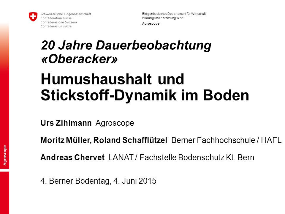 20 Jahre Dauerbeobachtung «Oberacker» Humushaushalt und Stickstoff-Dynamik im Boden
