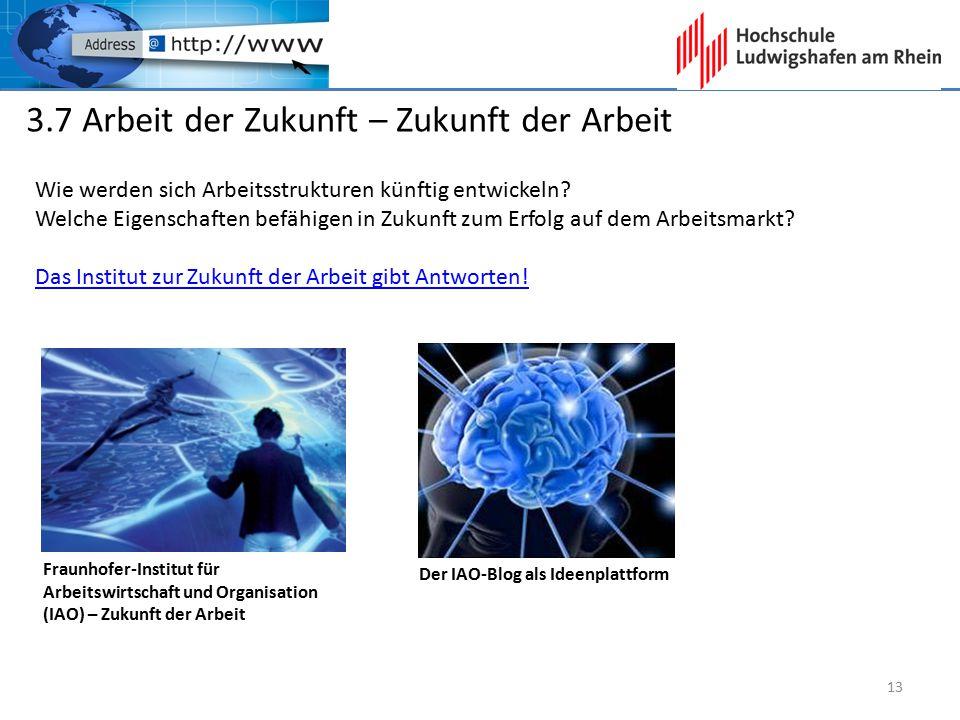 3.7 Arbeit der Zukunft – Zukunft der Arbeit