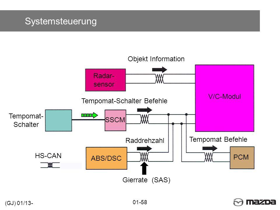 Systemsteuerung Objekt Information Radar- sensor V/C-Modul