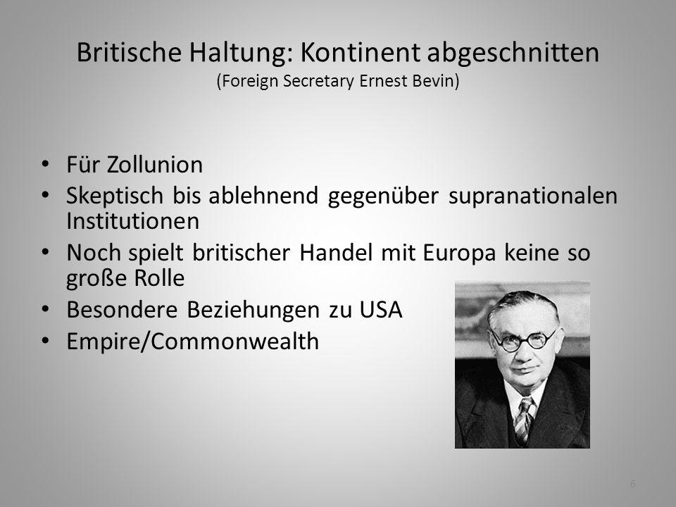 Britische Haltung: Kontinent abgeschnitten (Foreign Secretary Ernest Bevin)