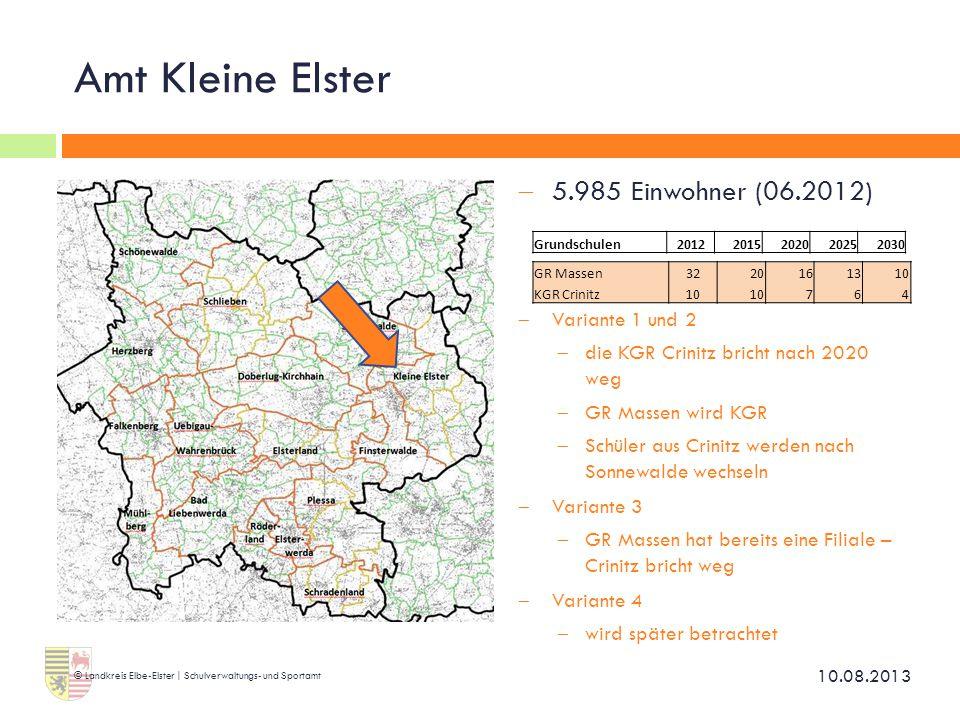 Amt Kleine Elster 5.985 Einwohner (06.2012) Variante 1 und 2