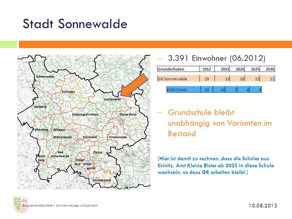 Stadt Sonnewalde 3.391 Einwohner (06.2012)