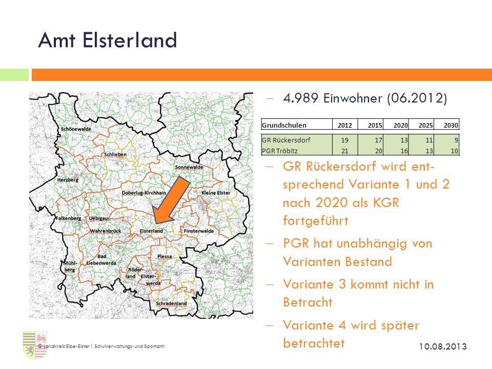 Amt Elsterland 4.989 Einwohner (06.2012)