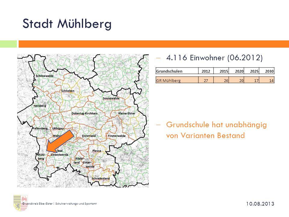 Stadt Mühlberg 4.116 Einwohner (06.2012)