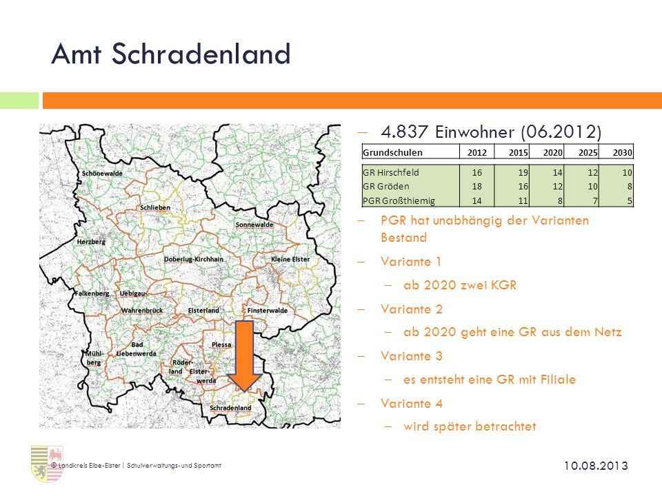Amt Schradenland 4.837 Einwohner (06.2012)