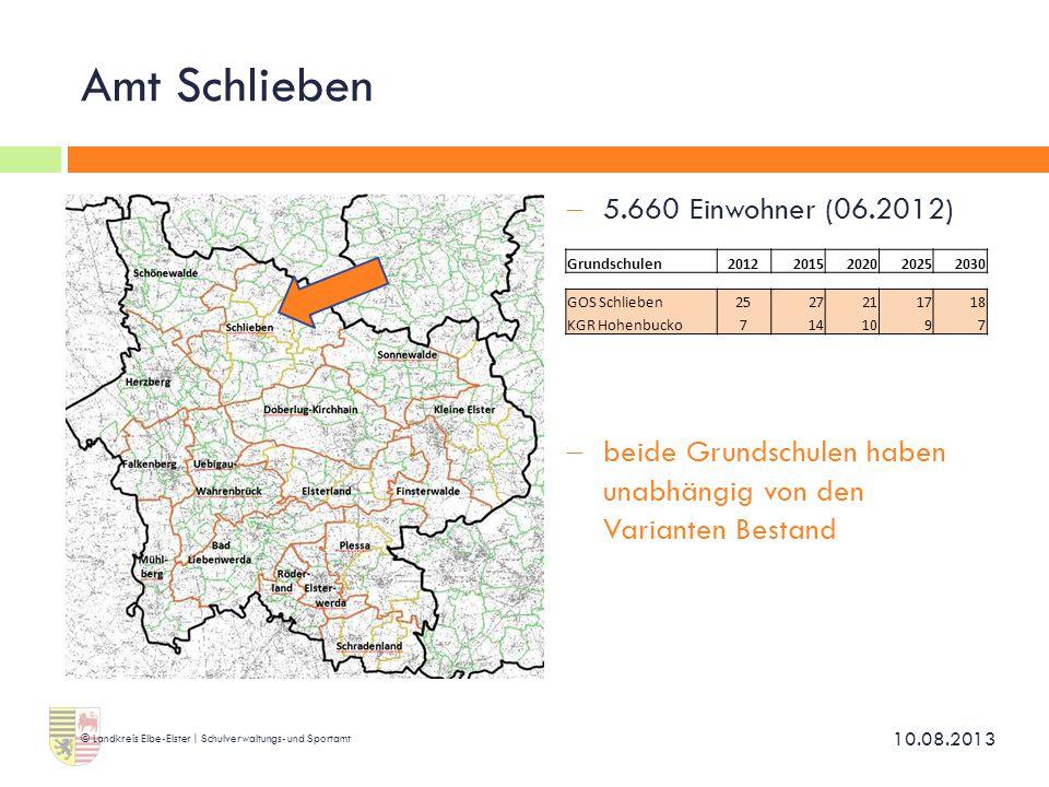Amt Schlieben 5.660 Einwohner (06.2012)