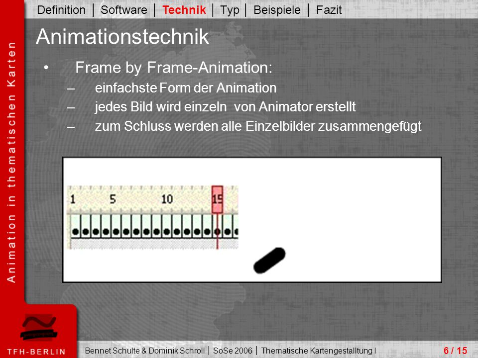 Animationstechnik Frame by Frame-Animation: