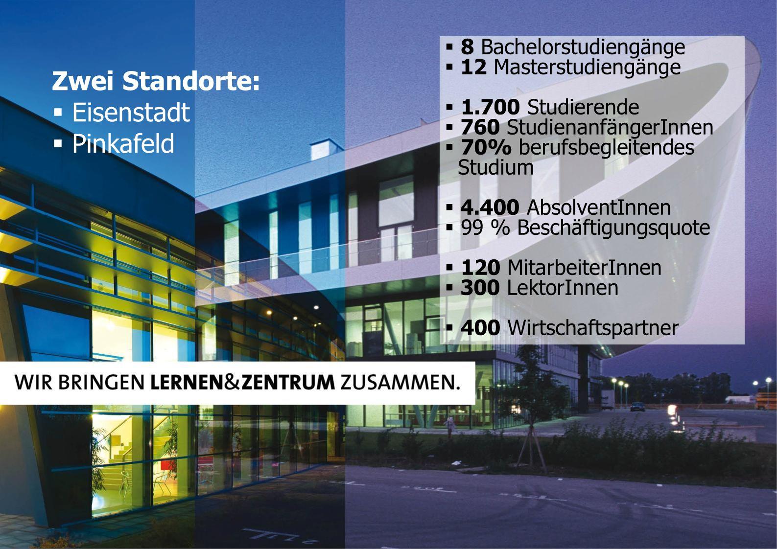 Zwei Standorte: Eisenstadt Pinkafeld 8 Bachelorstudiengänge