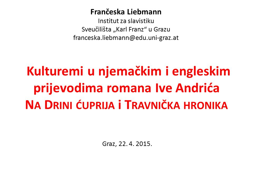 Frančeska Liebmann Institut za slavistiku