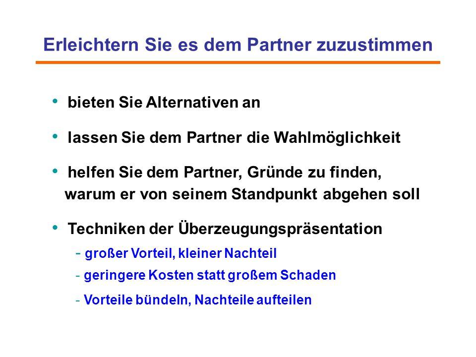 Erleichtern Sie es dem Partner zuzustimmen