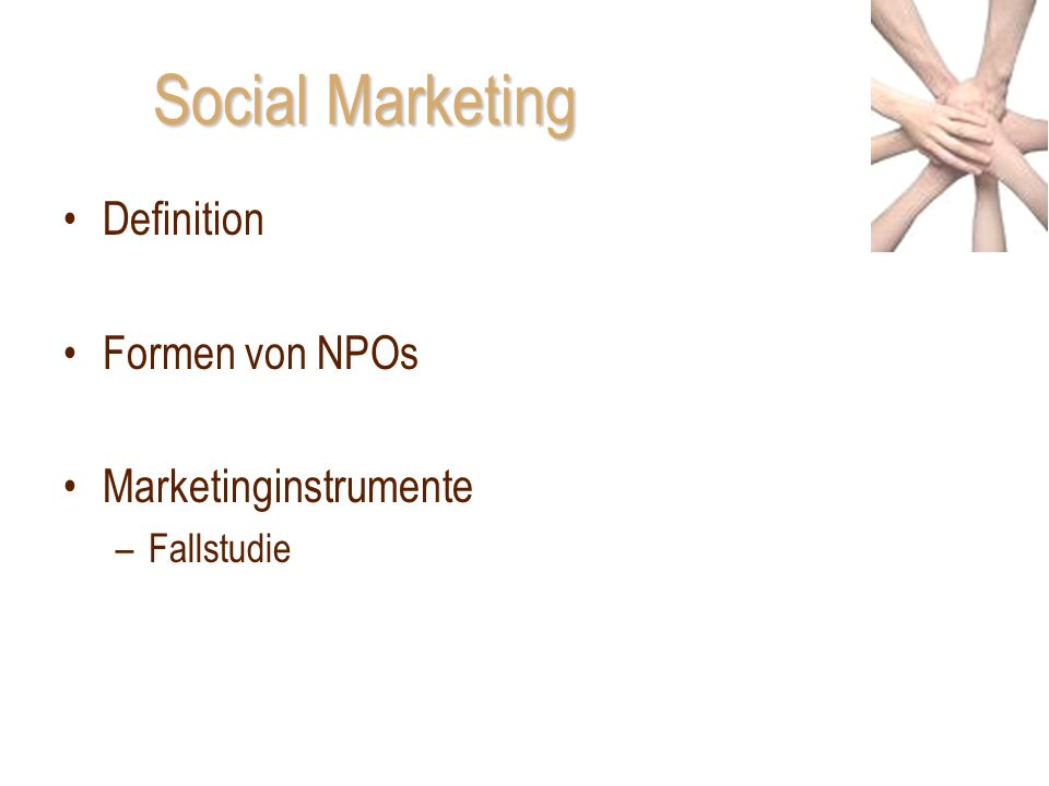 Social Marketing Definition Formen von NPOs Marketinginstrumente