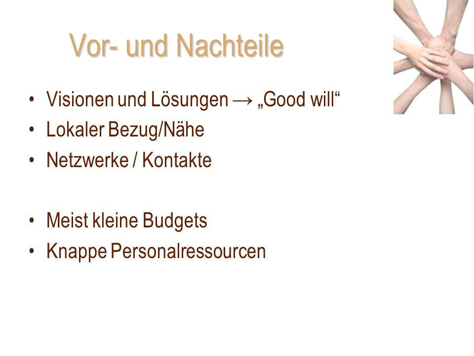 """Vor- und Nachteile Visionen und Lösungen → """"Good will"""