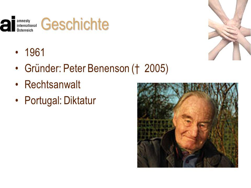 Geschichte 1961 Gründer: Peter Benenson († 2005) Rechtsanwalt